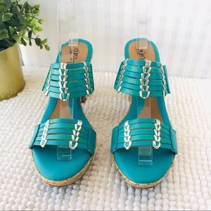 Soft platform mules Fayann teal leather sandals